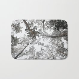 Forest trees in winter. View to the top. Bath Mat