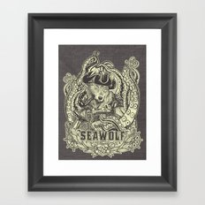 SeaWolf Woodcut Framed Art Print