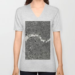 London map print Unisex V-Neck