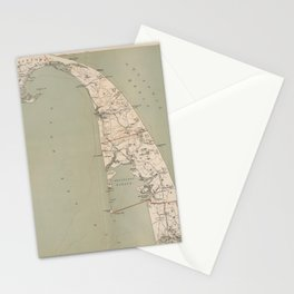 Vintage Map of Lower Cape Cod (1891) Stationery Cards