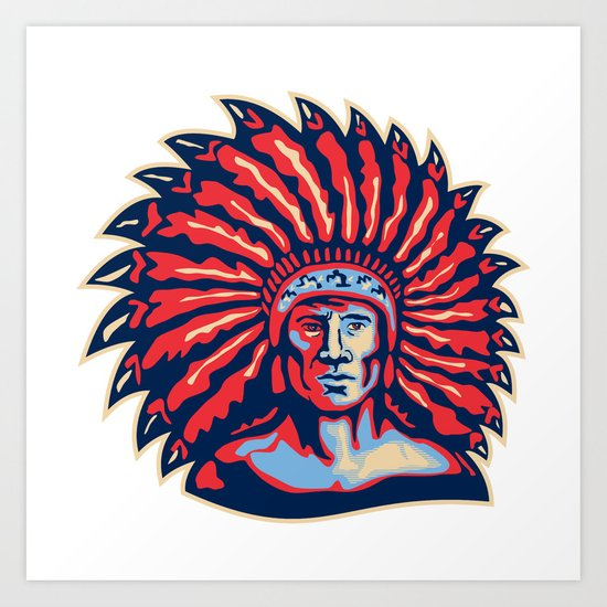 Native American Indian Chief Warrior Retro Art Print