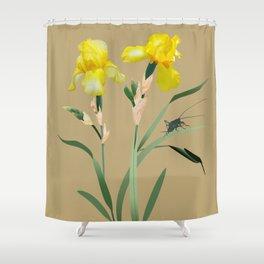 Yellow Iris and Cricket Shower Curtain