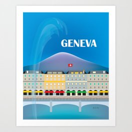 Geneva, Switzerland - Skyline Illustration by Loose Petals Art Print