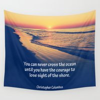 christopher walken Wall Tapestries featuring Christopher Columbus Quote by Phil Perkins