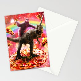 Space Sloth Riding Dinosaur Unicorn - Pizza & Taco Stationery Cards