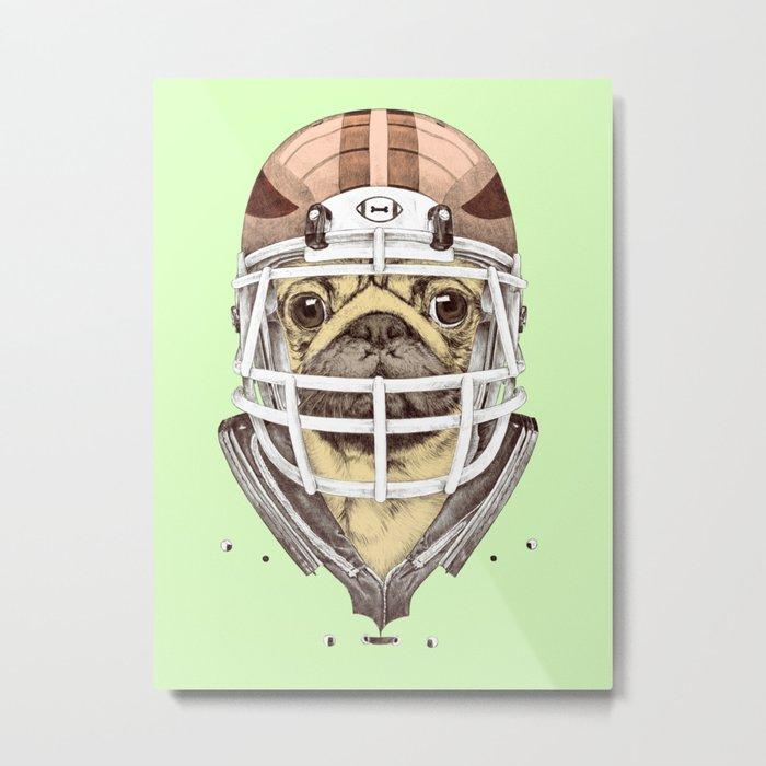 American Pug Football Yellow Metal Print