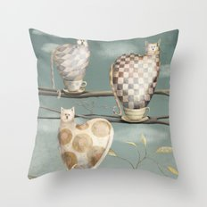 Cats in Cups Throw Pillow