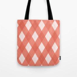Pantone Living Coral Argyle Plaid, Diamond Pattern Tote Bag