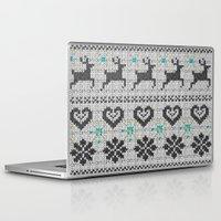 scandinavian Laptop & iPad Skins featuring Scandinavian Knitting (Black&White) by Vannina