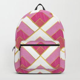 Pink and Gold Diamond Art Deco Pattern Backpack