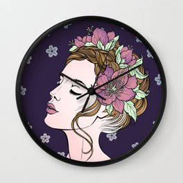 Flower Crown Girl Wall Clock