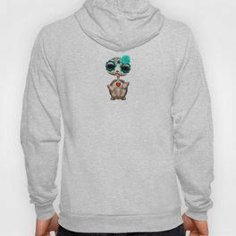 Blue Day of the Dead Sugar Skull Baby Turtle Hoody
