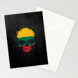 Flag of Lithuania on a Chaotic Splatter Skull Stationery Cards