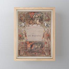 Vintage Fireman's Certificate - 1877 Framed Mini Art Print