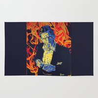 johnny cash Area & Throw Rugs featuring Johnny Cash by Rich Anderson