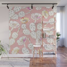 Modern white gold blush pink catus floral Wall Mural