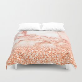 Sparkly Peach Copper Rose Gold Ombre Bohemian Marble Duvet Cover