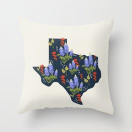 Lone Star State of Flowers Throw Pillow
