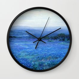 Bluebonnet Panoramic Landscape in Twilight painting by Robert Julian Onderdonk Wall Clock