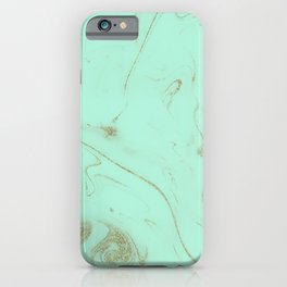 Elegant gold and mint marble image iPhone Case