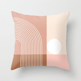 Geometric Blocks and Lines in Terracotta Beige Shades (Sun and Rainbow abstraction) Throw Pillow