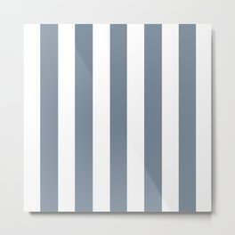 Light slate gray - solid color - white vertical lines pattern Metal Print