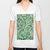 flower pattern V-neck T-shirts featuring Flower pattern by nicky2342