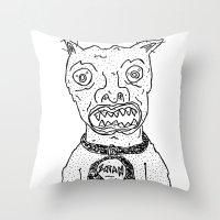 satan Throw Pillows featuring Satan by SECRET EYE