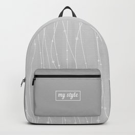 Grey Pattern With Lines And Dots Backpack