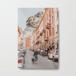 Walking the dog in Milan | Street photo pastel travel photography art print Metal Print