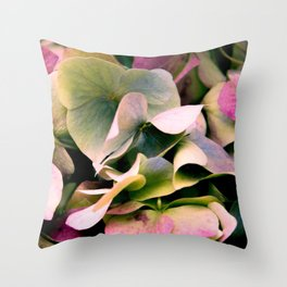 pink and green hydrangea Throw Pillow