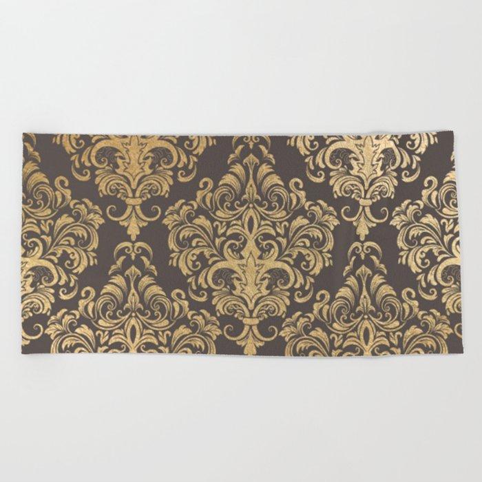 Gold swirls damask #7 Beach Towel