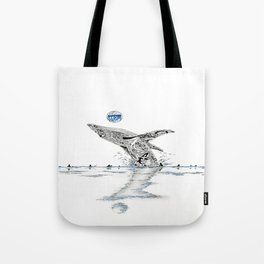 Blue Whale Surf Lineup Tote Bag