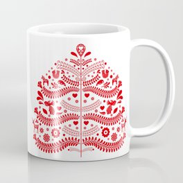 Red Scandinavian Folk Art Christmas Tree Coffee Mug
