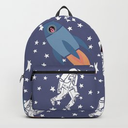 Astronaut Space Lady pattern of Galaxy, Stars, Cosmic, Rocket Backpack