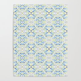 Blue dashes and diamonds Poster