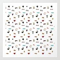 klaine Art Prints featuring Pattern of Klaine things by Jen K
