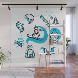 Snowboarding freestyle collection hand drawn set Wall Mural