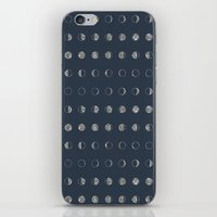 moon phases iPhone & iPod Skins featuring Moon Phases by Kiss the Sky