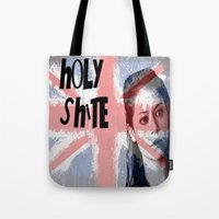orphan black Tote Bags featuring Orphan Black  - Holy Shite by Sullied By A Dream