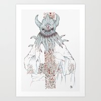 cthulu Art Prints featuring Cthulu Invades Spirituality Part 1 by radixrising