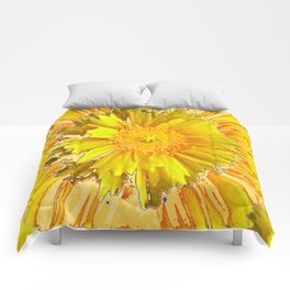 DECORATIVE BLUE & YELLOW FLORAL MODERN ART Comforters