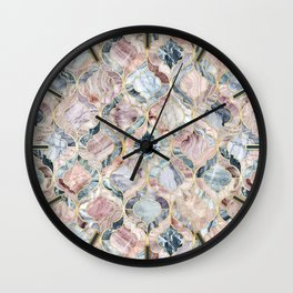 Marble Moroccan Tile Pattern Wall Clock