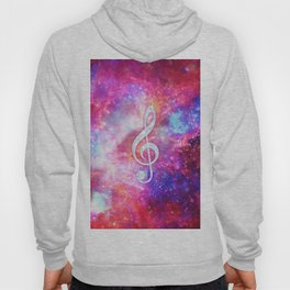 Galaxy Nebula Glitter Music Note Pink Space Hoody