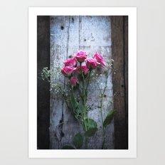 Rustic Pink Roses Art Print