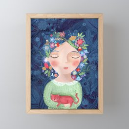 There are women that dreams with red cats Framed Mini Art Print
