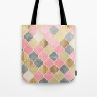 bedding Tote Bags featuring Silver Grey, Soft Pink, Wood & Gold Moroccan Pattern by micklyn