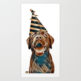 Happy birthday card crazy dog with party hat is smiling in de camera against white brick background Art Print