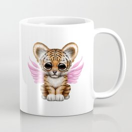 Cute Baby Tiger Cub with Fairy Wings on Pink Coffee Mug