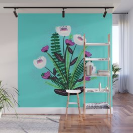 Green and Purple Bouquet Wall Mural